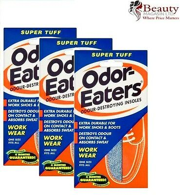 3 x ODOR-EATERS SUPER TUFF DEODORISING INSOLES.WASHABLE GOOD VALUE