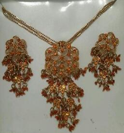Gold and Orange necklace with matching earrings