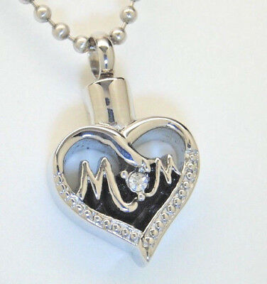 """Mom Heart Cremation Urn Necklace with Clear CZ """"O"""" 