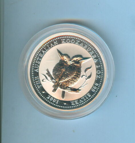 2001 AUSTRALIAN KOOKABURRA TWO DOLLARS 2 Oz. SILVER .999 - 1 COIN TOTAL