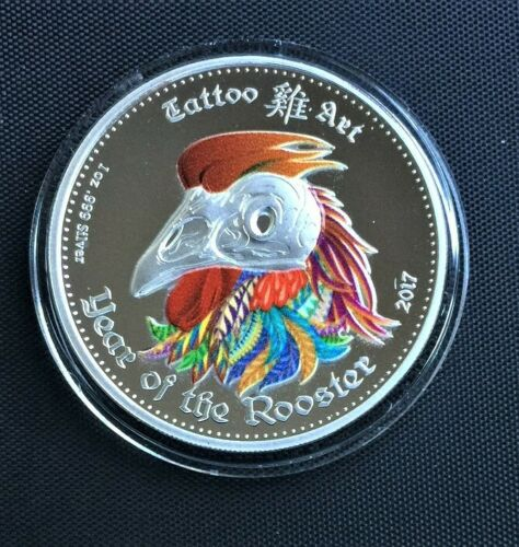 2015 GHANA 5 Cedis TATOO ART- YEAR OF THE ROOSTER 1oz PROOF SILVER COIN