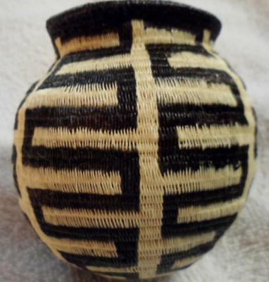 Wounaan Embera Black & White Woven Basket Panama 17050214L