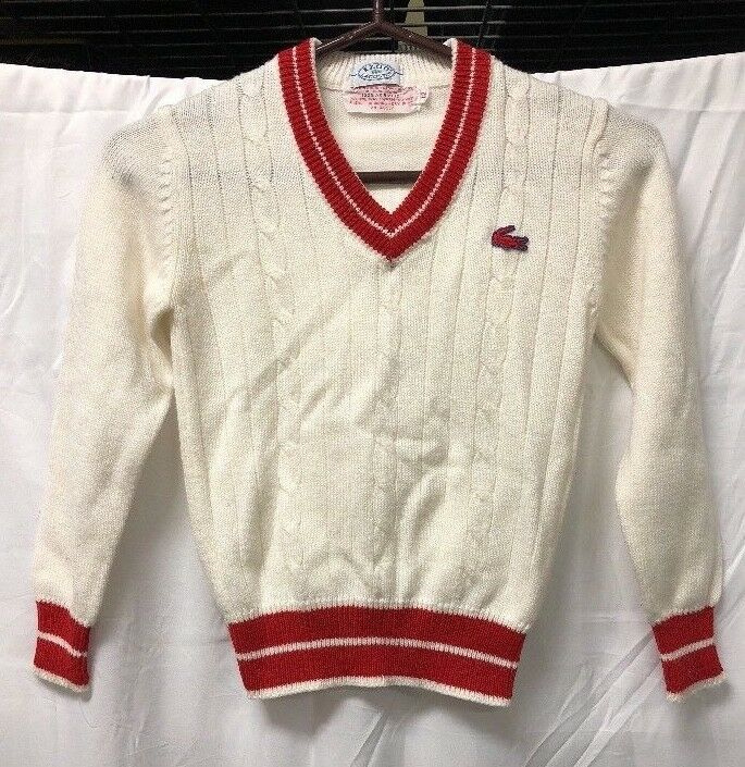 VTG IZOD Lacoste White Red V Neck Sweater Youth Sz 12