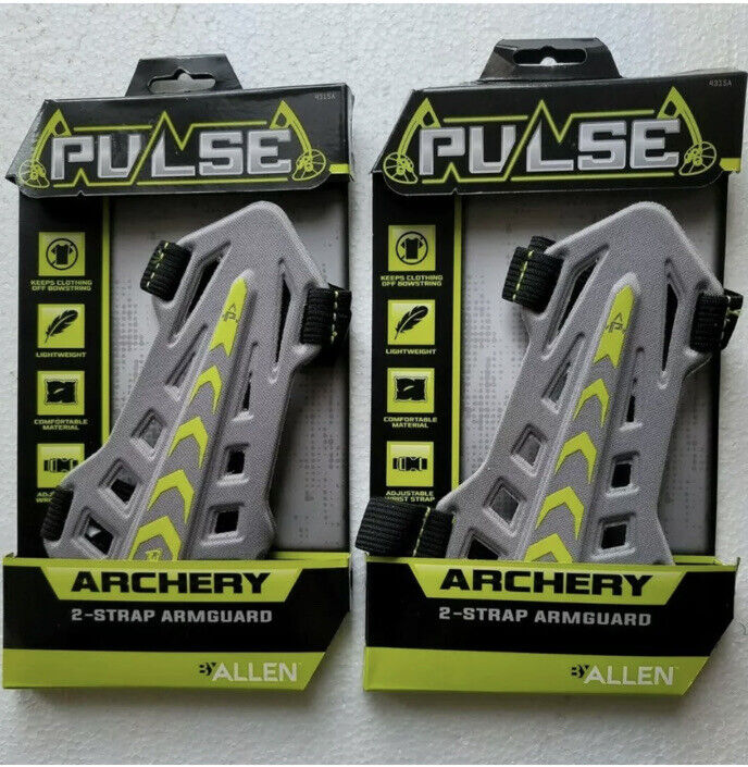 2 Pack Lot - Pulse  2-Strap Bow Archery Arm guard Grey BNIB Adj. Wrist Strap