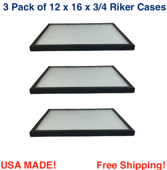 3 Pack of 12 x 16 x 3/4 Riker Display Cases Boxes for Collec