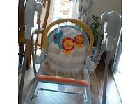As new from birth. Baby swing/rocker/seat. sounds/tunes. £100 new from argos