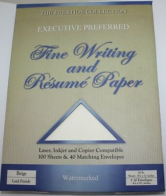 Resume Paper And Fine Writing   100 Sheets 26 Lb And 40 Envelopes   Beige