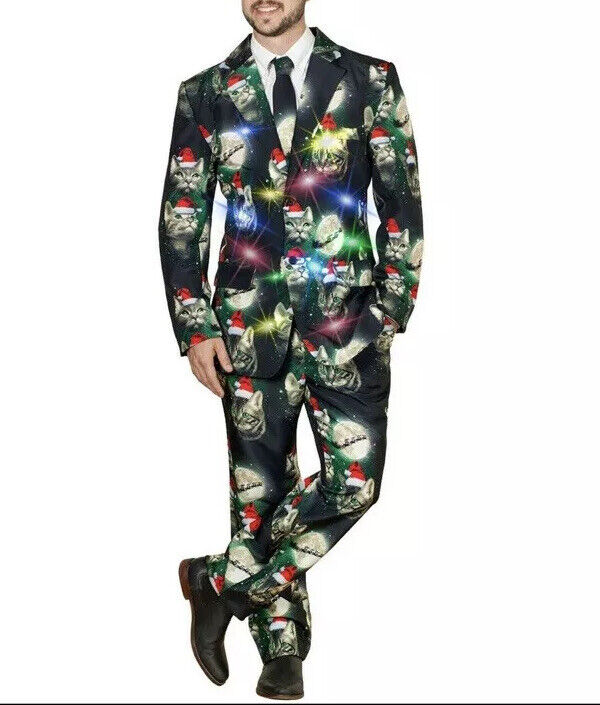 CAT SUIT Mens Med.3-Piece LIGHT UP Flashing Cosplay Ugly Christmas Gag Gift