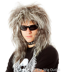 80s ROCKER MENS LONG WIG Rock Star Mullet Heavy Metal Punk Blonde Costume Party