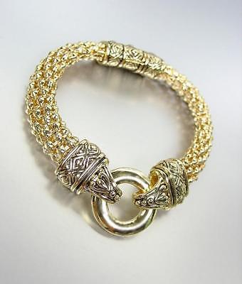 CLASSIC Designer Style Gold Ring Filigree Mesh Straps Magnetic Clasp Bracelet Classic Gold Ring Bracelet