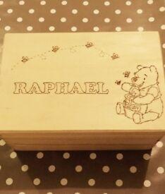 Personalised wooden box gifts: keepsake box, treasure chest, jewellery box