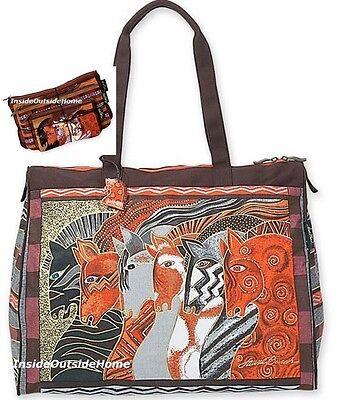 Laurel Burch Moroccan Mares Horse LARGE TRAVEL Tote Sport Tack + 3pc Makeup Bag ()
