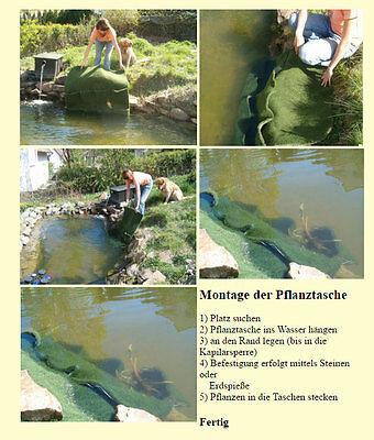 3 Pflanztasche mit 2 Taschen Bewuchsmatte Wasserpflanzenkorb  Teichbeutel Teich
