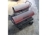 2x Clarke xr155 Diesel Parrafin workshop unit fired space Heaters