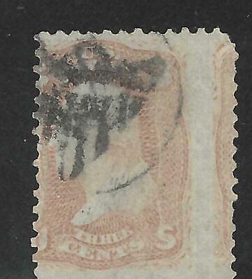 3c 1861 #65 Shield in Circle Fancy Cancel, Wild Misperf w/Gutter, Next Stamp @R