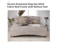 Beautiful mink fabric king size bed with orthopaedic mattress brand new & boxed