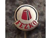 Antique Fezko Traditional Czech Fez Maker Hat Hatter Czechoslovakia Pin Badge