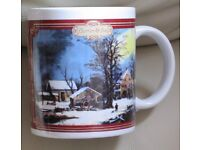MUG - 'CURRIER & IVES' - brand new, never used, pretty decorative festive design, snow topped houses