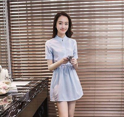 Trendy Fashion Dress (2018 Trendy OL Korean Fashion Sweet Short Sleeve Slim Striped Summer Shirt Dress )