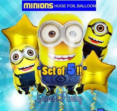 5 Set Bundle Minions Birthday Party Balloons Balloon Super Shape Despicable Me!
