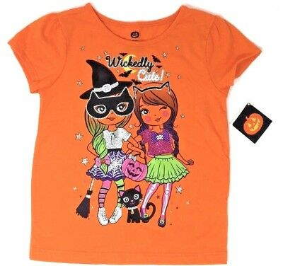 HALLOWEEN Toddler Girls' Wickedly Cute Short Sleeve Graphic Tee - Witch & Cat - Cute Halloween Graphics