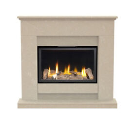 Marble fireplace with big gas fire very hot