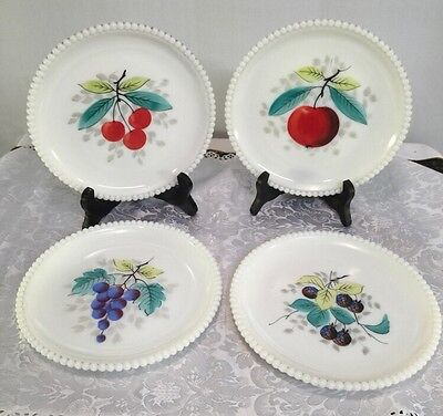 "Four Hand Painted Westmoreland 7.25"" Beaded Edge Milk Glass Plates"