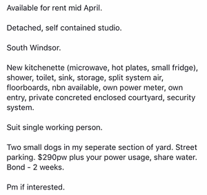 Detached, self contained studio South Windsor Hawkesbury Area Preview