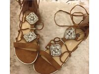 Brown Lacey and diamanté sandals