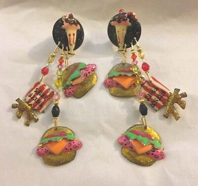 Rare LUNCH AT THE RITZ Enamel Crystal Earrings Hamburger French Fries Milk Shake - Milkshake Costume