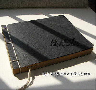 Binding Notebook (Vintage Chinese Line Binding Notebook Kraft Sketch Manual Notbook  Office Tool )