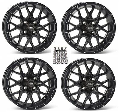 "ITP Hurricane ATV Wheels/Rims Matte Black 14"" Yamaha Grizzly Rhino (4) for sale  Middleport"