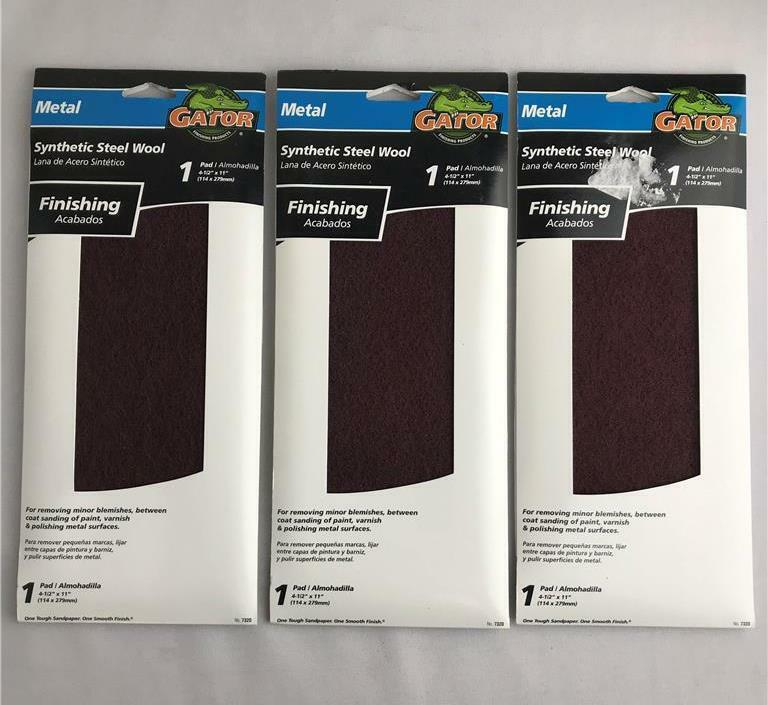 """* (3) Gator Synthetic Steel Wool Pad for Metal Finishing 4-1/2""""x11"""" 7320 NEW USA"""