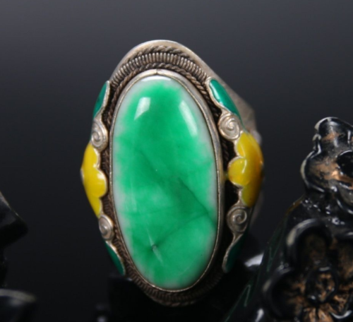 China Old Handwork Cloisonne Tibetan silver inlay green jade Ring
