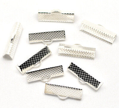 50 Silver Plated Ribbon End Clamps/Cord Ends 20mm Jewellery Findings J18005*50