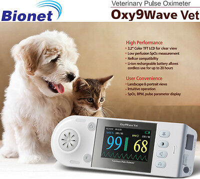New Bionet Oxy9wave Vet Veterinary Pulse Oximeter 3.2 Lcd Color Display
