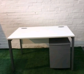 white desk & pedestal set Home office furniture