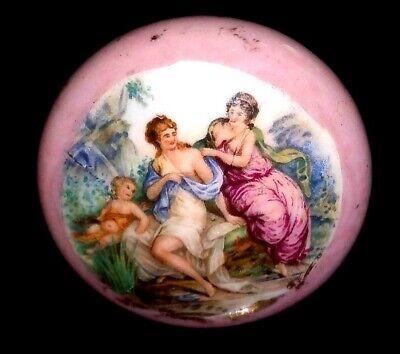 Single Antique Doorknob VICTORIAN Porcelain Ornate Painted Salvage Wash DC Home