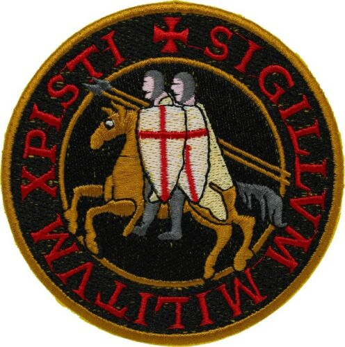 """KNIGHTS TEMPLAR SEAL iron-on PATCH embroidered CRUSADES BLACK 4"""" LARGE"""