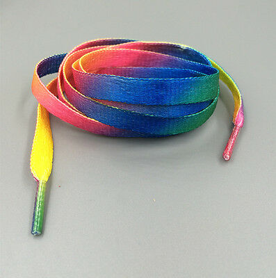 NEW 1 Pair Flat Gradient Ramp Shoelaces High Quality Color-choosing 114cm