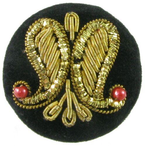 LG Fabric Button w/ Double Paisley Design, Zardozi Embroidery Work, Beads
