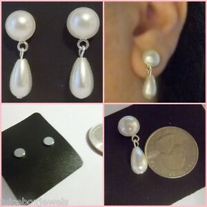 magnetic pearl earrings magnetic faux button white pearl 10mm drop dangle clip on earrings mag19 9962