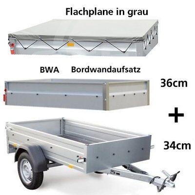 STEMA Anhänger OPTI 750 Kg 33cm Bordwand + 35cm BWA + Flachplane in grau