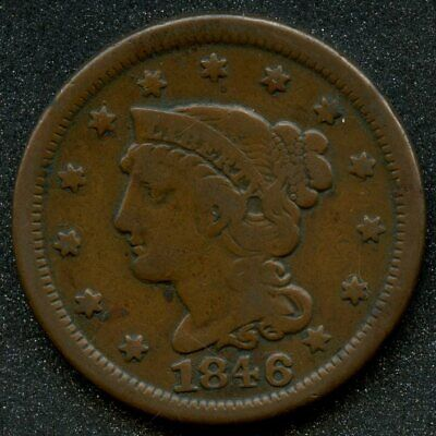 1846 (VG) 1C BRAIDED HAIR LARGE CENT