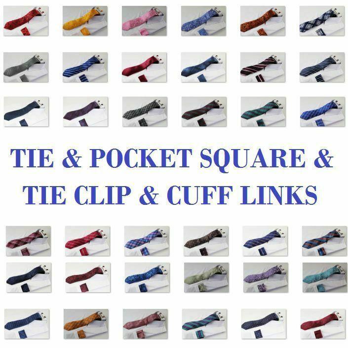 Mens Matching Tie & Pocket Square & Tie Clip & Cuff Links Set Neck Hanky Black