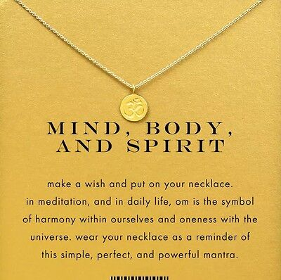 Mind Body And Spirit Om Symbol Necklace Gold Dipped