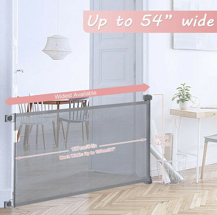 Babepai Retractable Baby Safety Gate , Gray Extra Wide Safety