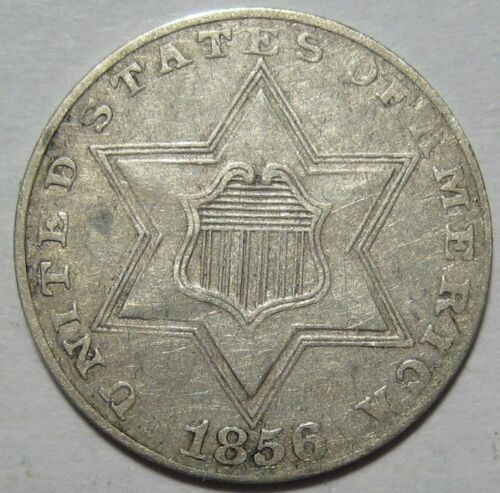 = 1856 XF+ THREE Cent Piece, TYPE 2 T2, FREE Shipping