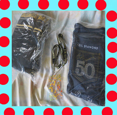 Neil Diamond Music Tour 50th Anniversary VIP Duffle Bag, Blanket, Lanyard 2017.