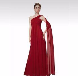 Dark red long chiffon size 16 shoulder scarf dress